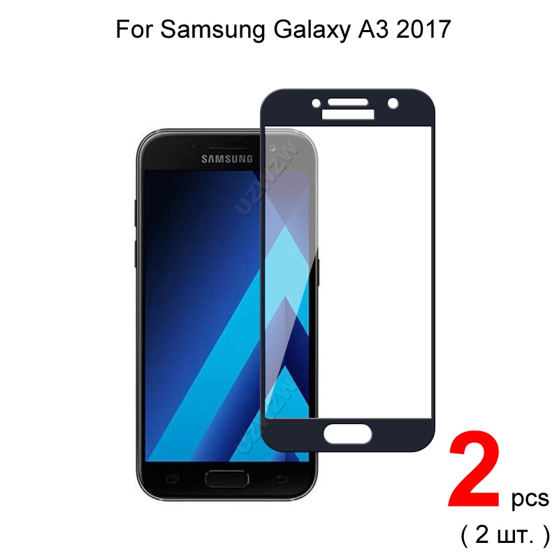 2pcs Glass For Samsung Galaxy A3 2017 Full Cover Screen Protector Protective Tempered Glass For Samsung Galaxy A3 2017 A320