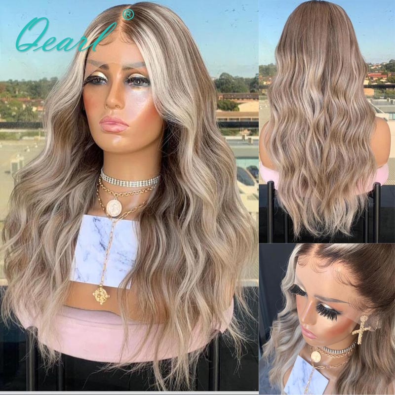 Ash Blonde Balayage Human Hair Wig Light Grey Loose Wave 13x4/13x6 Lace Front Wig Brazilian Remy Hair Ombre Glueless 150% Qearl