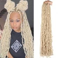 long blonde faux locs crochet hair 18 24 36inch synthetic curly hair crochet braids goddess soft locs dreadlocks hair extensions