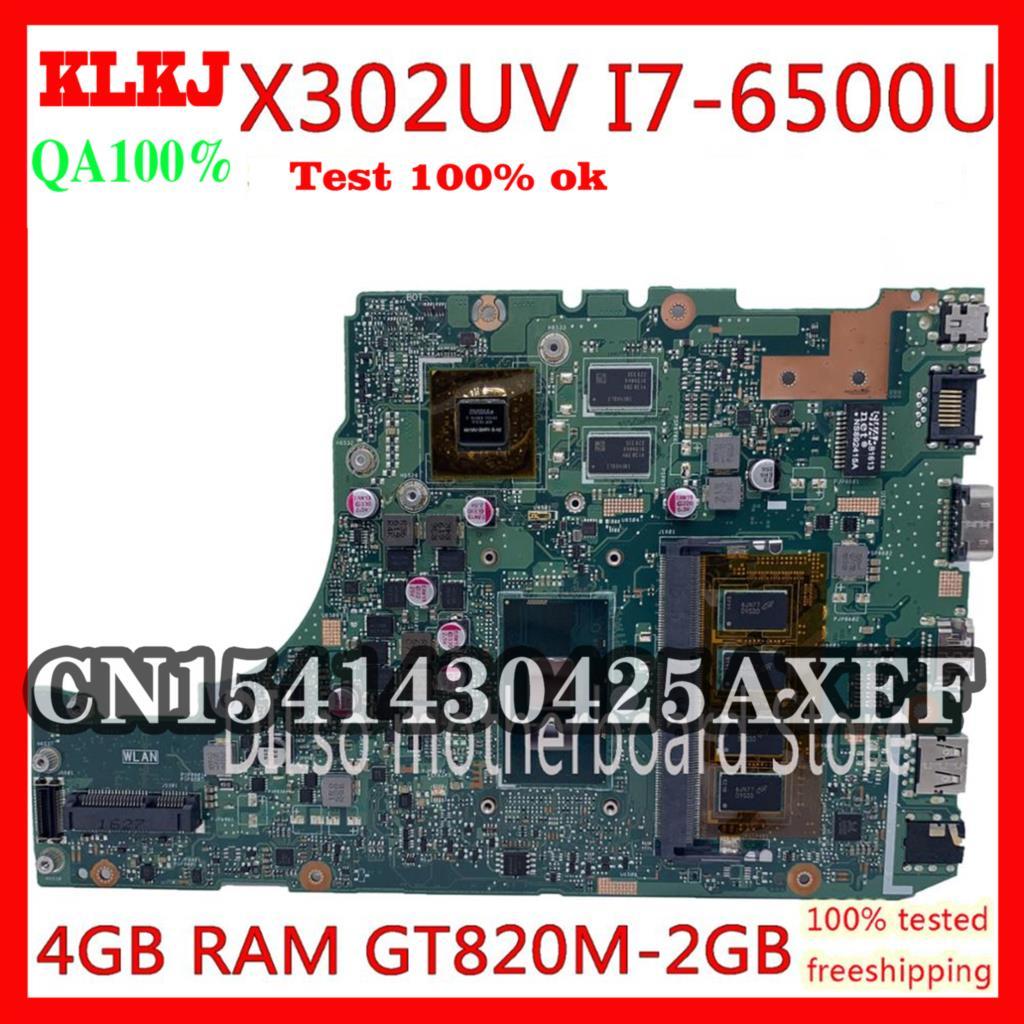 KLKJ X302UV اللوحة ل ASUS X302UA X302UJ X302UA X302UVK اللوحة الأصلي 4GB I7-6500U GT820M-2GB اختبار 100% العمل