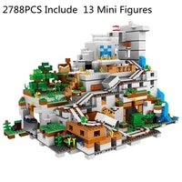 my world the mountain cave building blocks with figures compatible 21137 bricks with elevator educational toys christmas gift