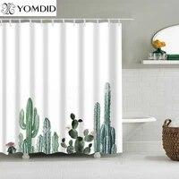 Cactus Tropical rideau de douche Polyester tissu rideau de bain pour la salle de bain decoration multi-taille imprime accessoires de salle de bain