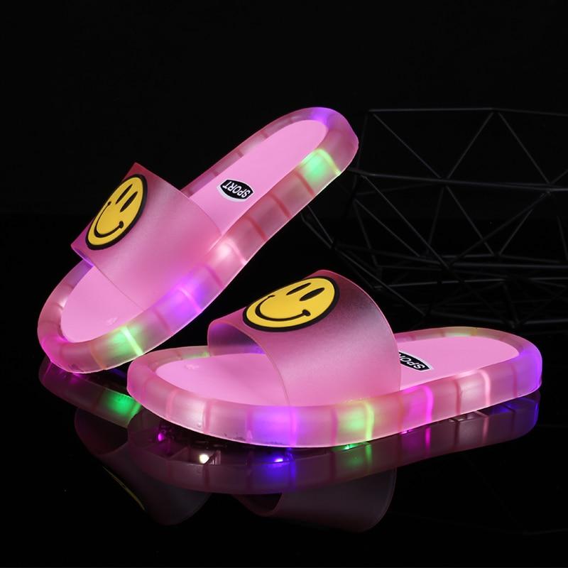 2020 летние светящиеся тапочки для мальчиков и девочек, детская мягкая обувь из ПВХ, детские домашние сандалии, удобные детские шлепанцы
