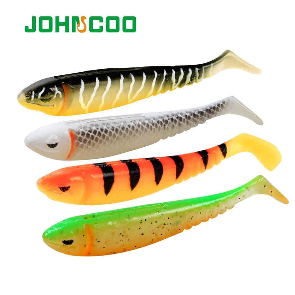 JOHNCOO10 Uds 6 uds suave cebo loco ojo morado de señuelo de pesca 75mm 100mm cebo suaves de silicona bajo Pike Minnow Swimbait de Shad atraer
