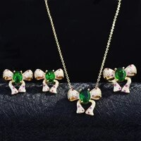 new bowknot design jewelry set gold color fashion emeralds rings pendants necklace stud earring for women party wedding jewelry