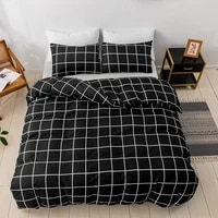 modern home bedding sets 23 pcs duvet cover and pillowcases black geometric plaid pattern style quilt cover for home bedroom