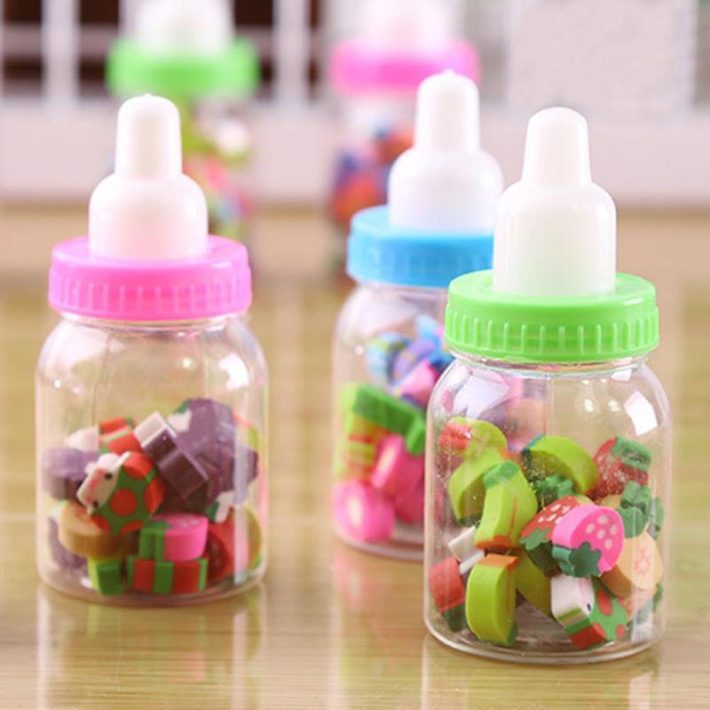 Mini Feeding Bottle Cute Fruits Rubber Erasers Gift for Children Kids Students