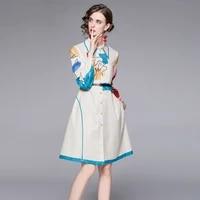 runway designer 2021 autumn flower print shirt dress office ladies turn down collar lantern sleeve a line belt midi dress s65659