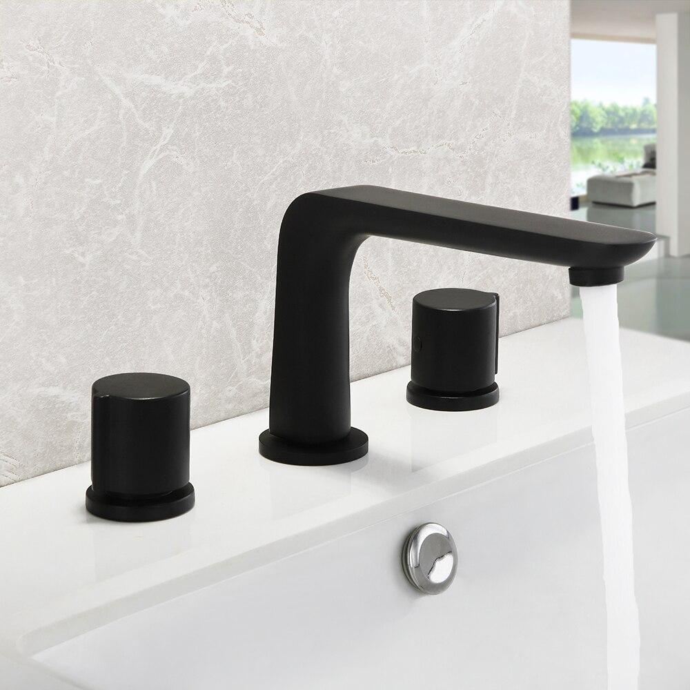Skowll Brass Swivel Three-Hole Basin Faucet Household Double Switch Bathroom Washbasin Black Split S