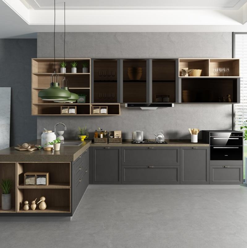 خزائن مخصصة خزائن المطبخ كله حسب الطلب خزائن المطبخ اقتصادية كاملة ديكورات منزلية كونترتوب الكوارتز