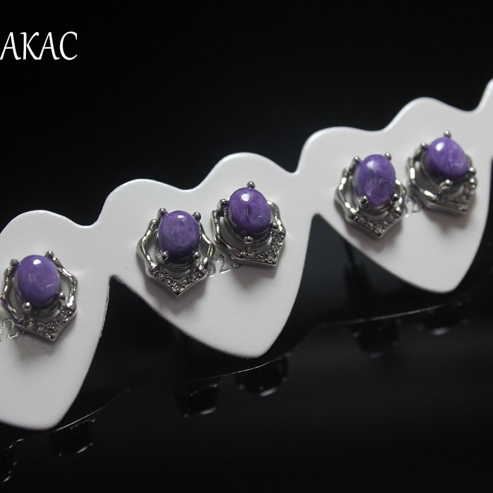 2pairs/ set  AKAC natural purple charoite stud earrings for women earring  the best gift ever