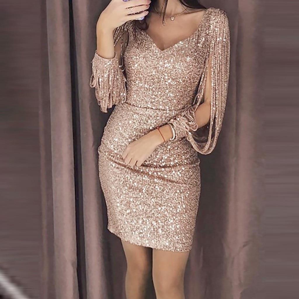 Mini vestido Sexy liso con lentejuelas con puntadas brillantes de manga larga...