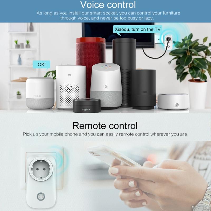 Prise intelligente WiFi US/EU/royaume-uni, prise dalimentation sans fil, commutateur de synchronisation pour maison intelligente, fonctionne avec Alexa Google Assistant, téléphone intelligent, 2021