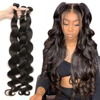 peruvian hair 3 bundles with closure body wave natural human hair bundles with bigger closure 5x5 6x6 fashow thick hair weaves