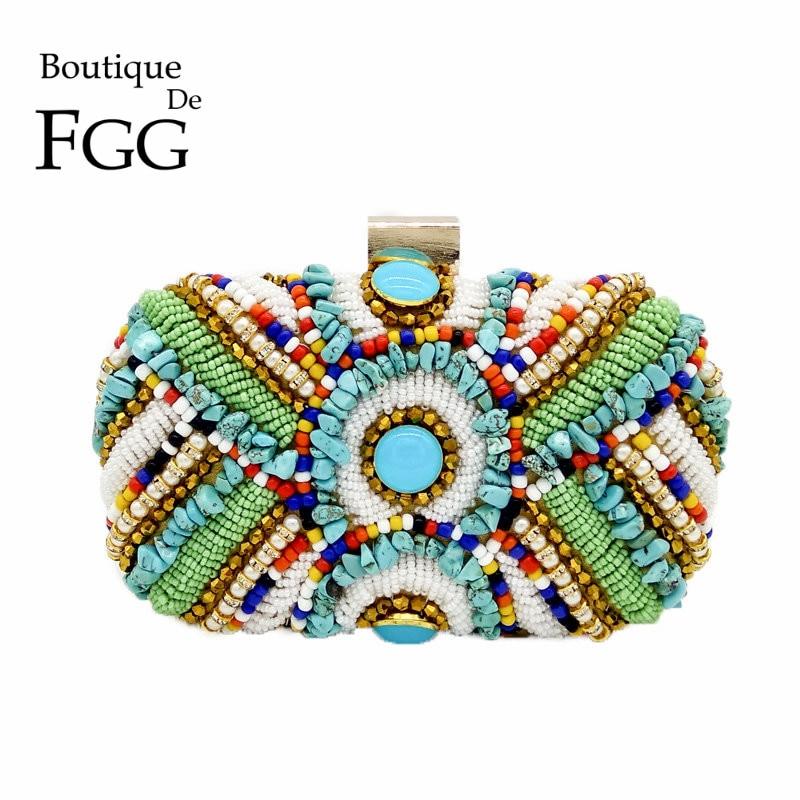 Boutique De FGG-Bolso de mano de estilo clásico bohemio para mujer, bolsa...