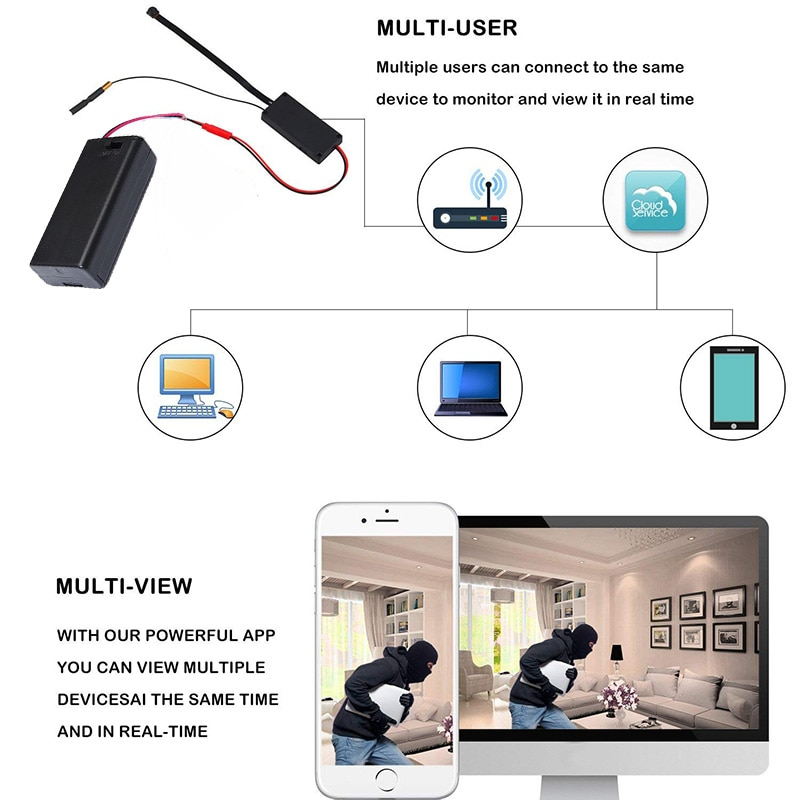 HD 1080P DIY Portable WiFi IP Mini Camera P2P Wireless Micro Webcam Camcorder Video Recorder Support Remote View Hidden TF Card enlarge