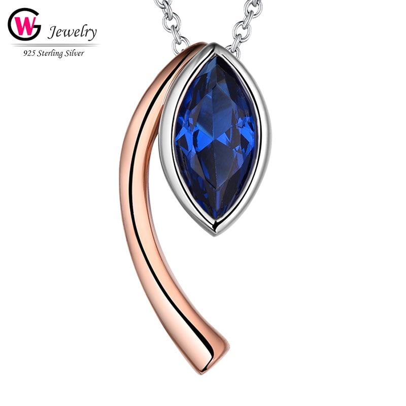 Lujo 925 Plata azul circonita cúbica azul ojo Collar para mujeres collares con colgante de diamante de cristal regalo femenino Color oro rosa marca