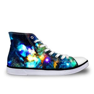 HaoYun Women Vulcanize Shoes Comfortable Ladies High-top Canvas Shoes Starry Design Girls Lace-up Flat Sneakers Sapato Feminino