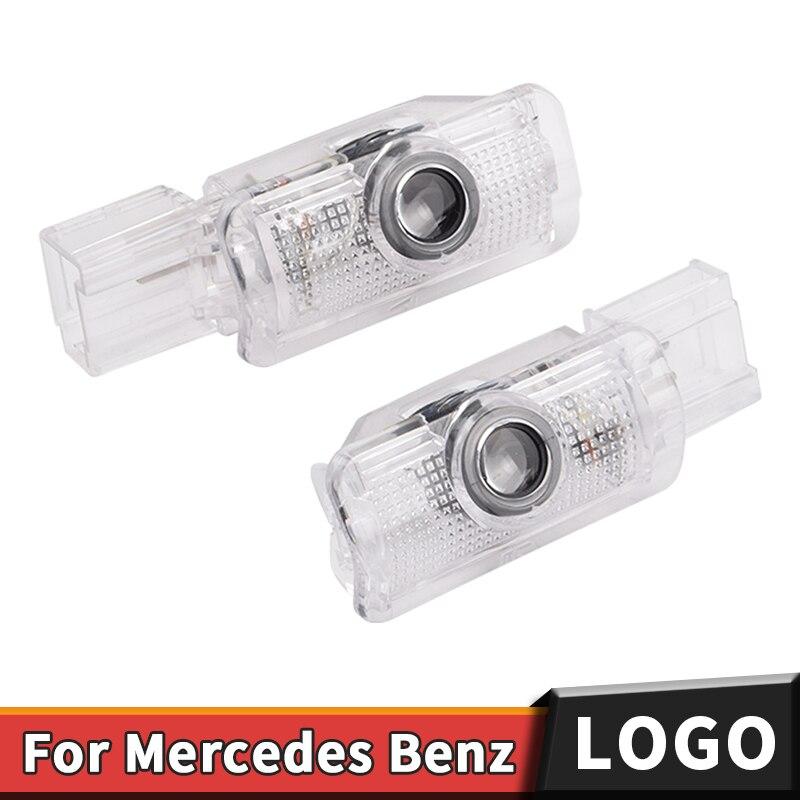 2X coche LED Luz de bienvenida para puerta logotipo Proyector láser puerta lámpara para Mercedes Benz R W215 ML W164 GL X164 R300 R350 ML300 ML350 ML63