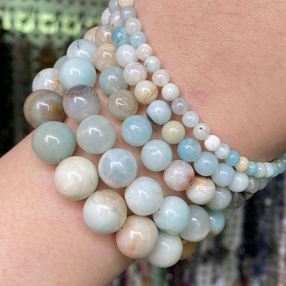 "Grânulos de pedra natural multicolorido amazonite redonda solta contas para fazer jóias diy pulseira encantos acessórios 4 6 8 10 12mm 15"""