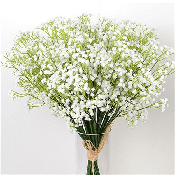 1 sztuka białe dzieci oddech kwiaty sztuczne fałszywe łyszczec DIY kwiatowe bukiety układ ślubny wystrój domu kwiat