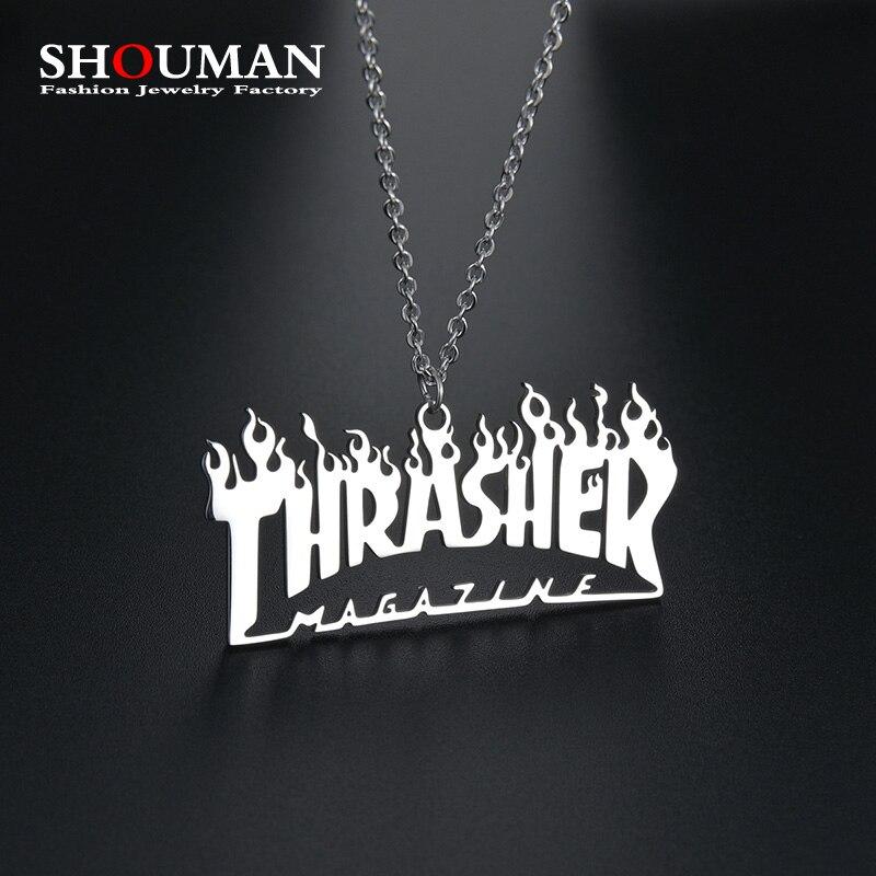 Ожерелье SHOUMAN из нержавеющей стали в стиле хип-хоп с надписью «Thrasher»