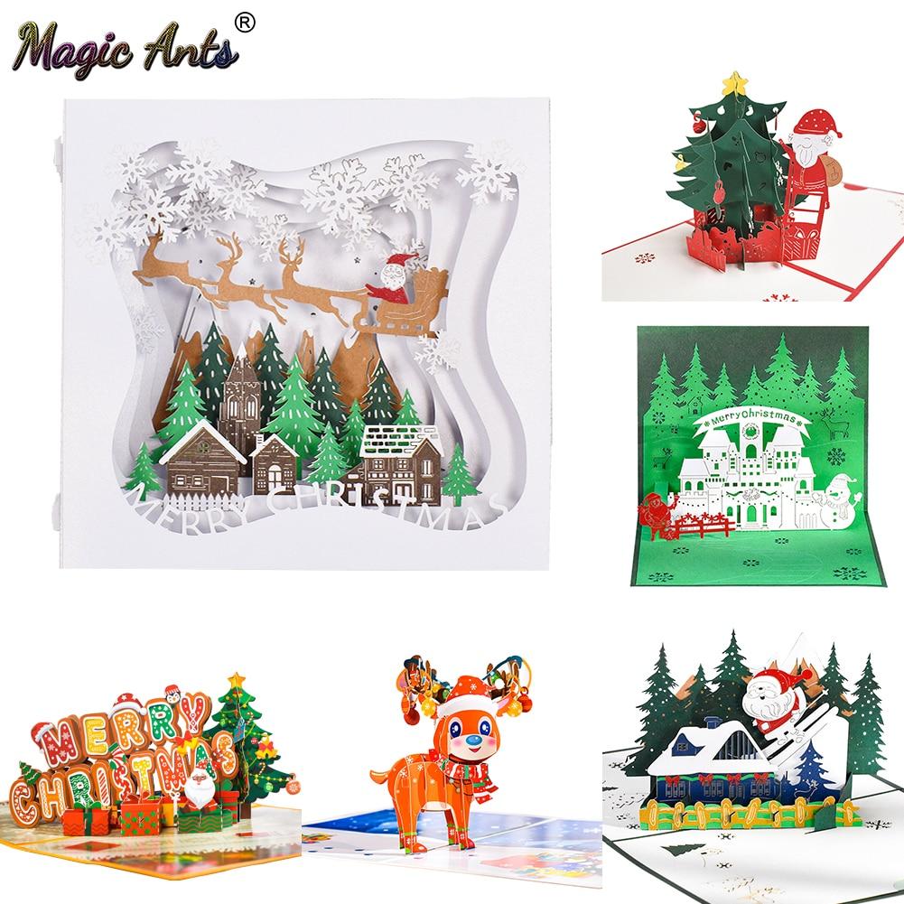 Рождественская Открытка Санта поездка Рождество Фестиваль Новогодняя открытка зимний праздник поздравительные открытки с конвертами