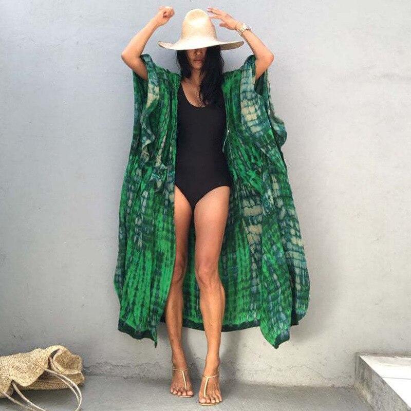 Большой Размеры платье «вареный» открытой передней свободные мягкие кимоно Cover up