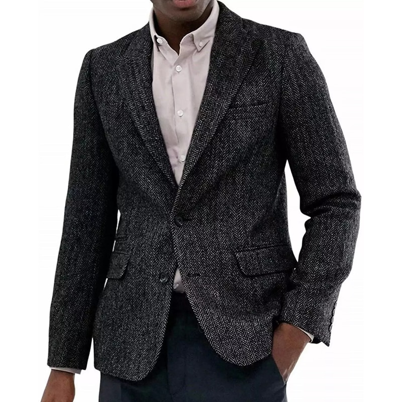 أحدث تصميم معطف مخصص أسود رمادي تويد البدلة الرجال متعرجة دعوى معطف تويد خريف شتاء معطف رياضي 2 قطعة الدعاوى