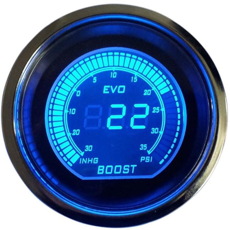 Автомобильный турбоманометр 52 мм, цифровой ЖК-дисплей с датчиком EVO red blue jauge voiture reloj presion Turbo