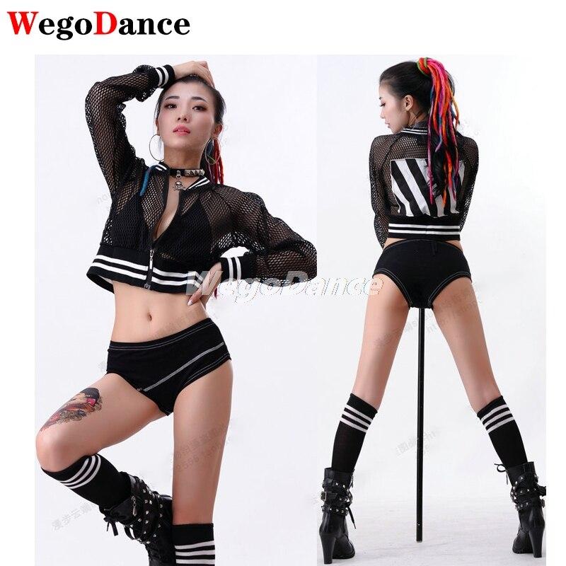 شبكة قمة الموضة مثير فائقة قصيرة صافي سترة فضفاضة طوق الرقص أداء الجاز المرحلة