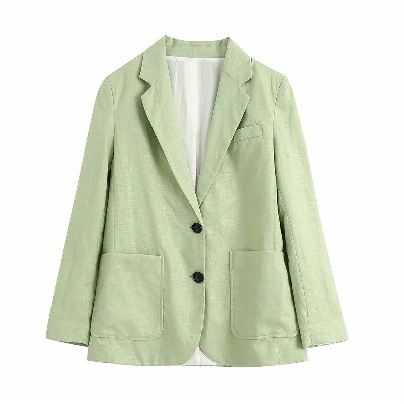 Blazer de lino de algodón, informal, de verano para mujer, verde, larga, moda 2020, para oficina, de manga larga, con una hilera de botones