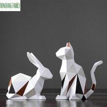 Statue de lapin géométrique nordique   Sculpture de chat, Animal moderne, décor de maison, renard modèle Miniature, Figurines de lapin en résine créatives de mode