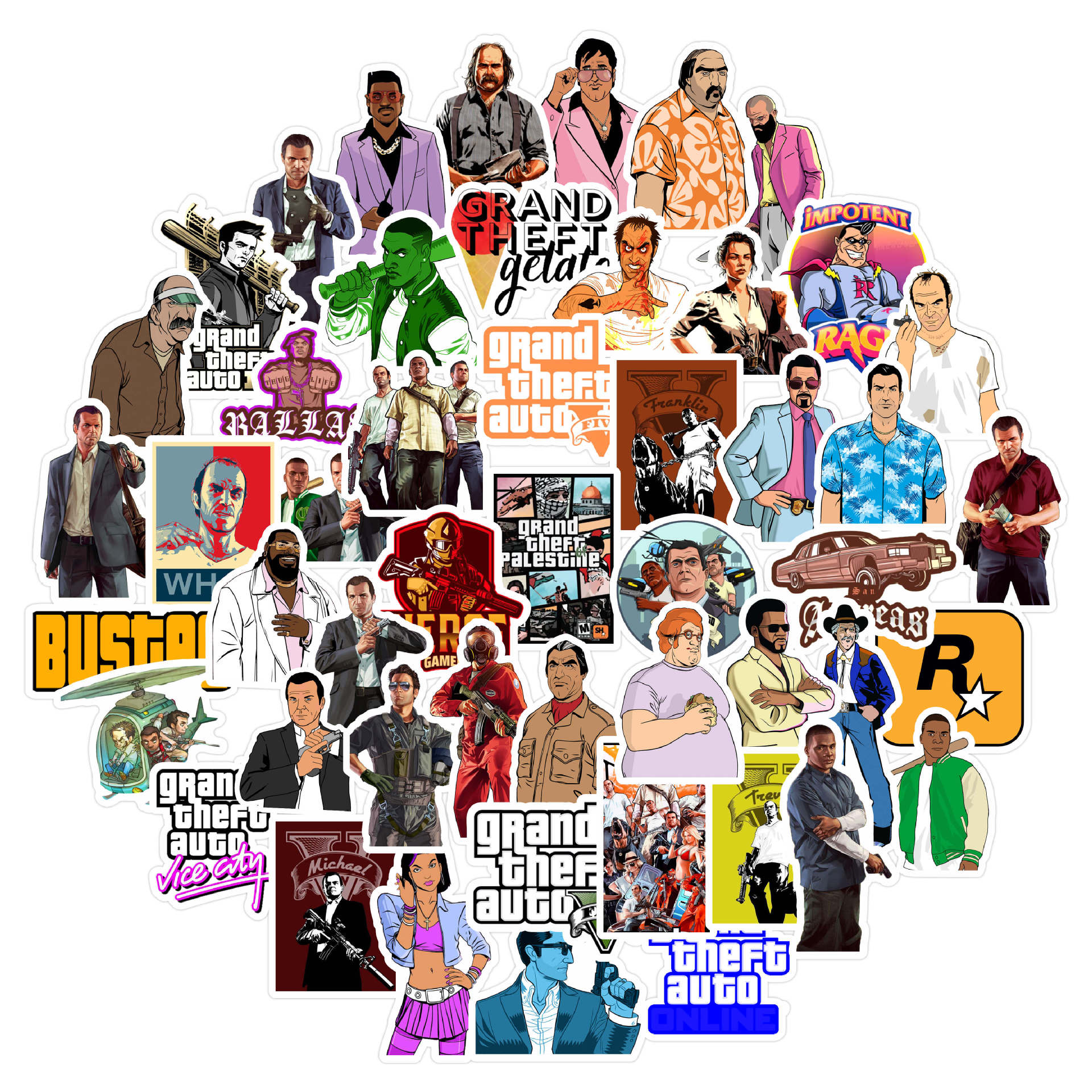 50 PCS GTA Game Grand Theft Autos Sticker For Luggage Laptop Tablet Phone Case Decoration Sticker Children Toy Gift