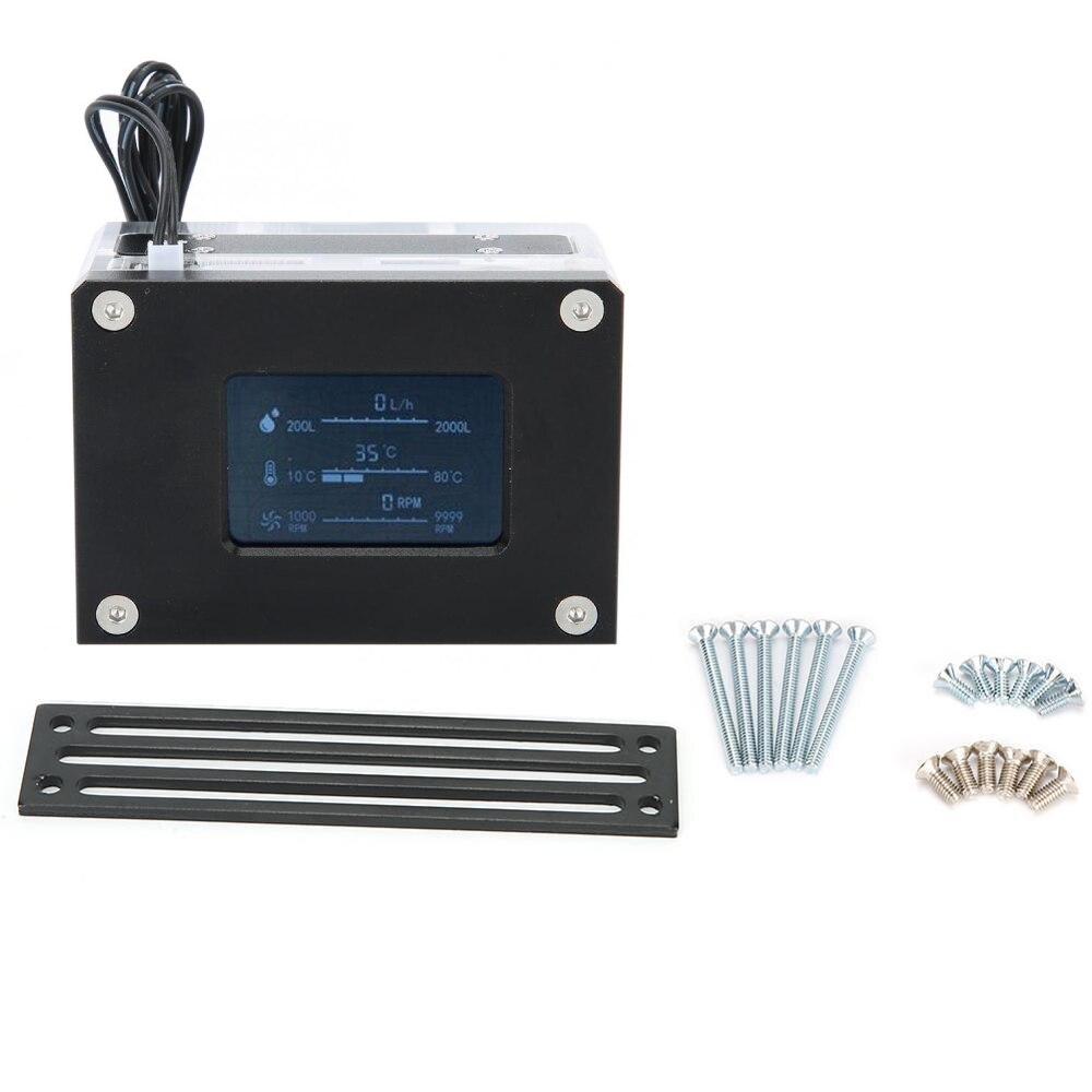Medidor de flujo inteligente LCD de refrigeración por agua, detección de temperatura, rosca G1/4 en para accesorios de sistema de refrigeración por agua de PC