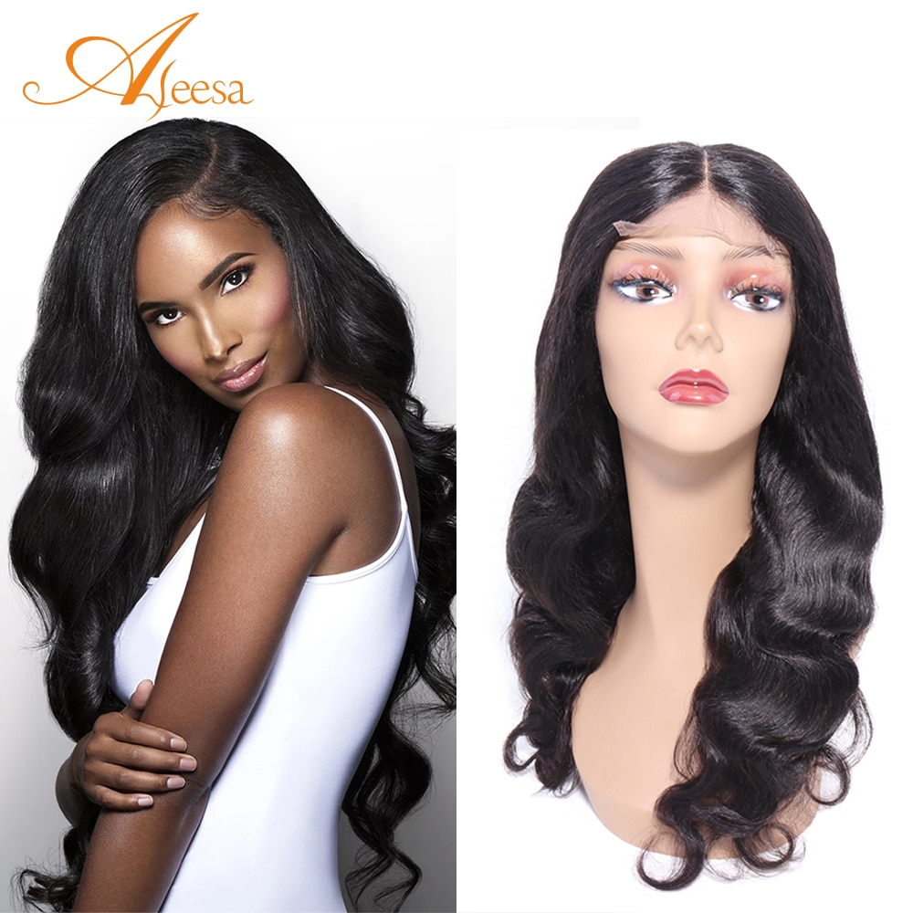 ALEESE Curly Body Wave Wigs Virgin Hair For Black Women 4X4 Lace Closure Brazilian Hair Swiss Lace 12