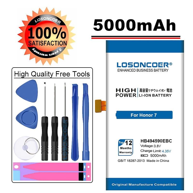 LOSONCOER 5000 мАч HB494590EBC батарея для huawei Honor 7 батарея Glory PLK-TL01H ATH-AL00 батарея