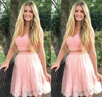 2019 cheap pink lace short homecoming dress a line v neck juniors sweet 15 graduation cocktail party dress plus size custom made