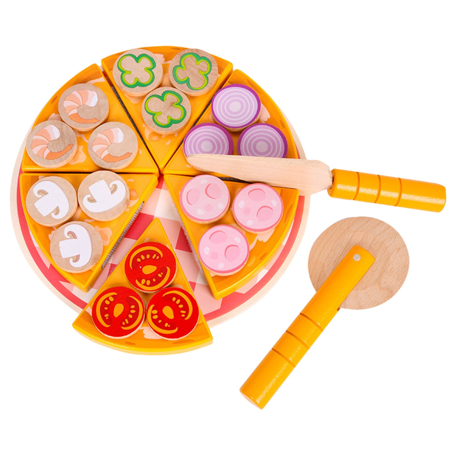 6 Pcs Pretend Wooden Toy Game Food Cutter Pizza Kids Playset
