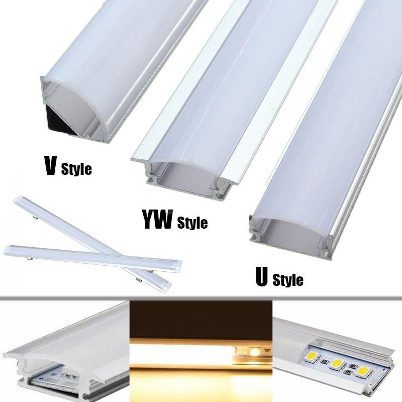 1 Uds U/V/YW estilo en forma de luces de barra LED canal de aluminio titular de la leche cubierta final para tira de luz LED accesorios Dropshipping. Exclusivo.