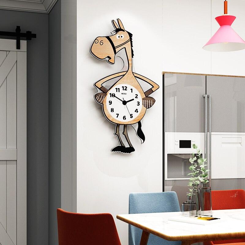 MEISD كبير الكرتون ساعة حائط الحصان الحديثة تصميم ديكور المنزل ساعة الحائط معلقة Horloge مع البندول شحن مجاني