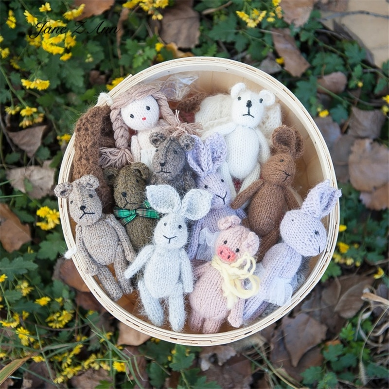 Jane Z Ann Newborn handmade doll photography rabbit girl bear pig cat prop studio shooting accessories