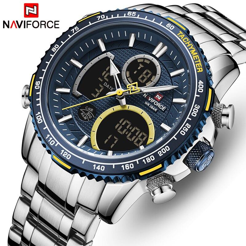 Naviforce men assista topo marca de luxo grande dial relógios do esporte dos homens cronógrafo quartzo relógio de pulso data masculino relogio masculino