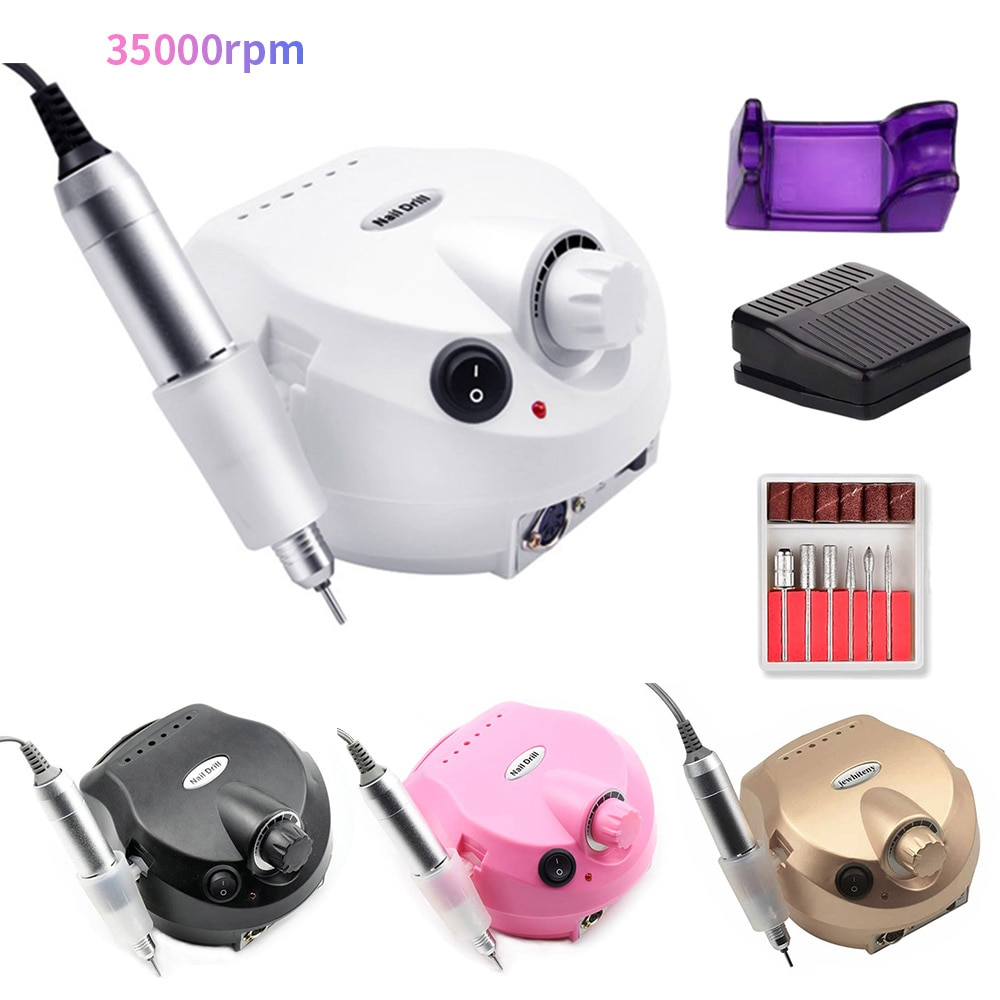 35000rpm Electric Nail Drill Machine Electric Nail File With Manicure Pedicure Mill Cutter For Professional Pedicure Nail Tools