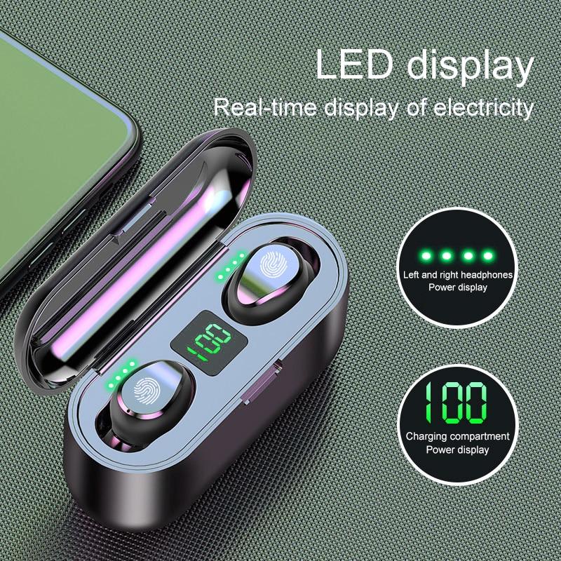 F9 TWS Bluetooth Wireless Earphones 5.0 Earpiece Touch Flashlight Sports Waterproof Music 2000mAh Ea