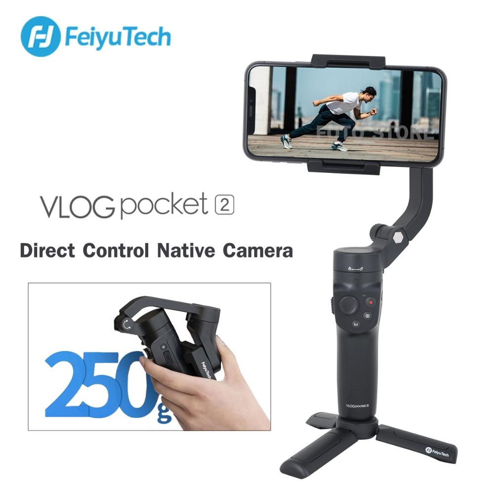 Feiyutech vlog bolso 2 handheld smartphone cardan estabilizador selfie vlog vídeo para iphone 11 pro xs huawei samsung