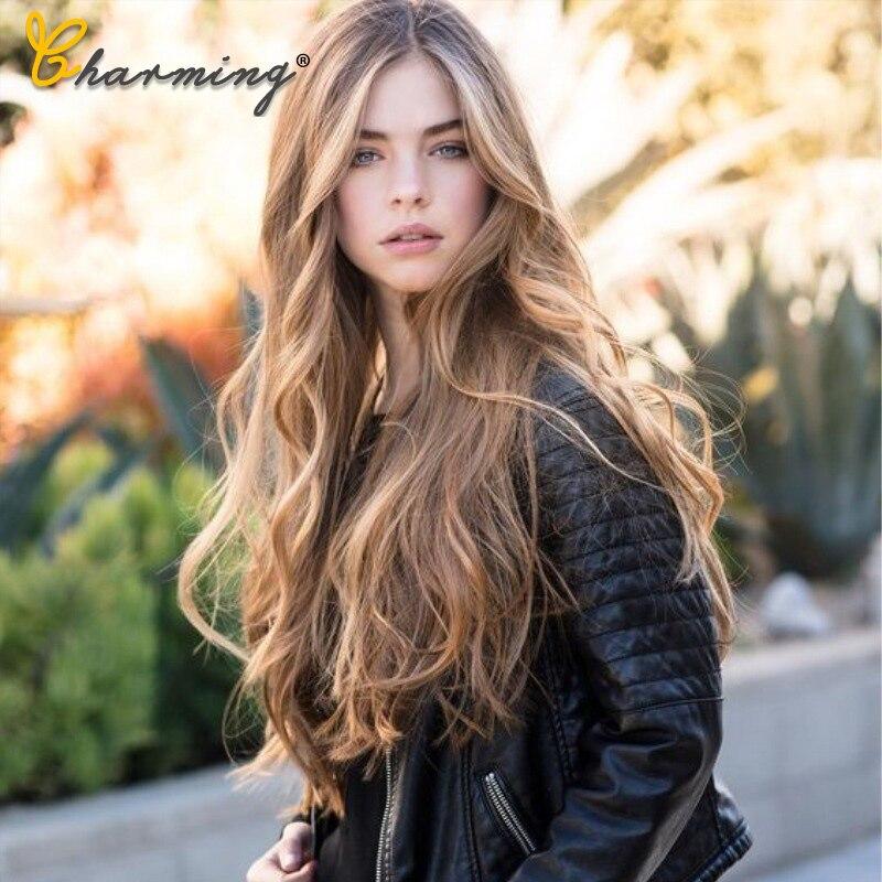 Largo bonito peluca ondulada marrón Peluca de mujer sintética Natural para Cosplay cabello rubio resistente al calor