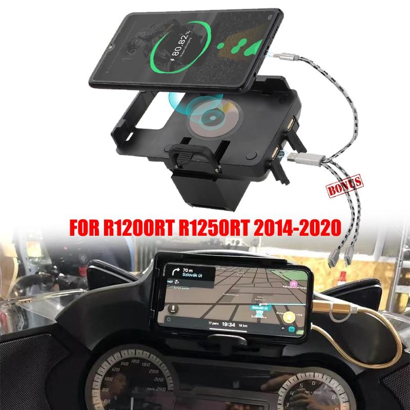 ل BMW R1200RT R1250RT اللاسلكية شحن الملاحة قوس لتحديد المواقع الملاح شاحن يو اس بي الهاتف الملاحة حامل 1200RT 2014-2020