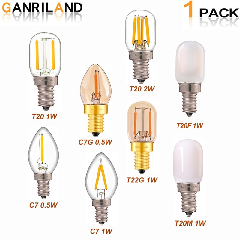 GANRILAND E14 Led Dimmable Bulb E12 E14 220V 0.5W 1W 2W LED Lamp LED Filament Night Light Chandelier