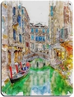 venice watercolor vintage travel poster retro poster metal tin sign chic art retro iron painting bar people cave family garage